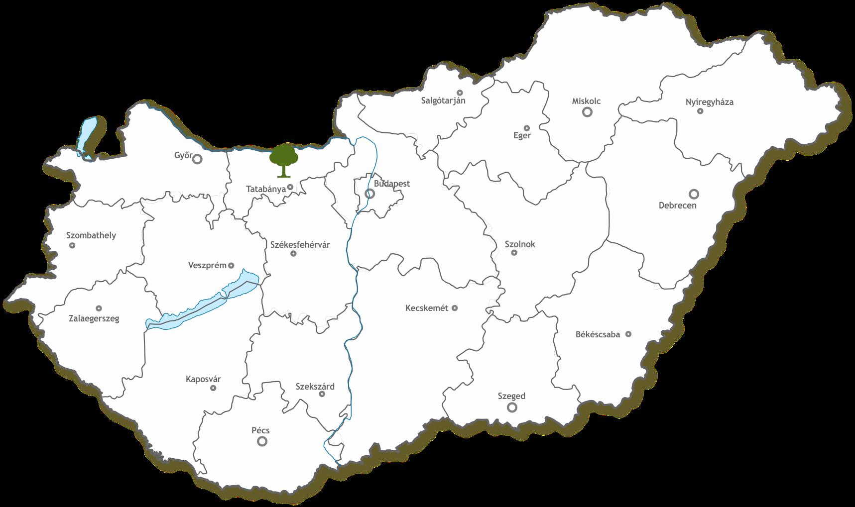 magyarország térkép tata Emlékerdő   Emlékerdők magyarország térkép tata